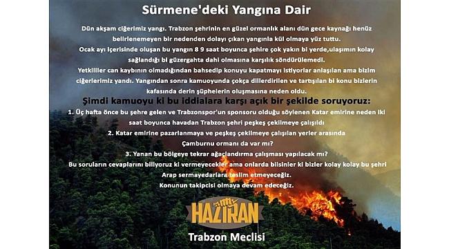 Haziran Trabzon Meclisi'nden 'Sürmene' soruları