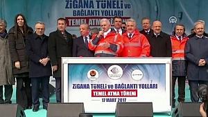 Başbakan Yıldırım Zigana tünelinin temelini attı