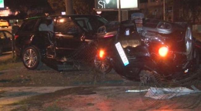 Burak Yılmaz'ın bulunduğu araç takla attı