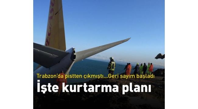 Trabzon'da pistten çıkan uçak nasıl kurtarılacak