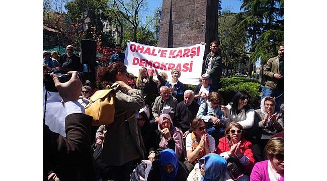 Trabzon'da OHAL'e karşı Demokrasi eylemi