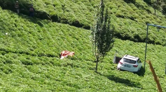 Otomobil çay bahçesine uçtu