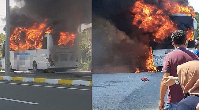 Seyir halindeki otobüs yandı: 5 ölü