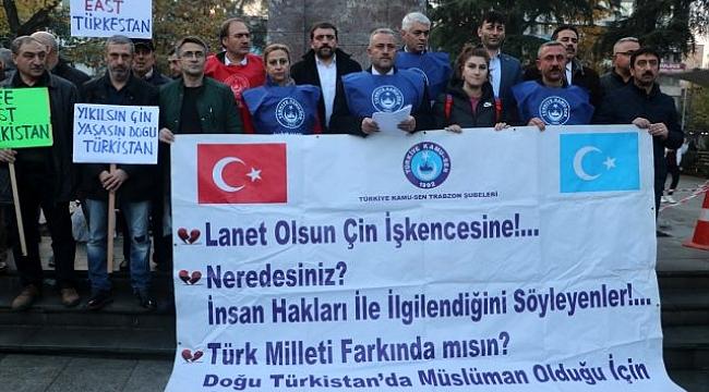 Trabzon'da, Çin'in Doğu Türkistan politikaları protestosu