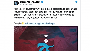 Trabzonspor'dan örtülü ödenek yalancılarına suç duyurusu