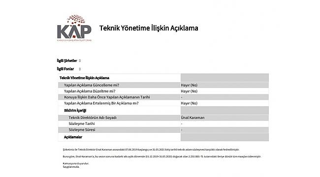 Trabzonspor Ünal'ı KAP'a bildirdi
