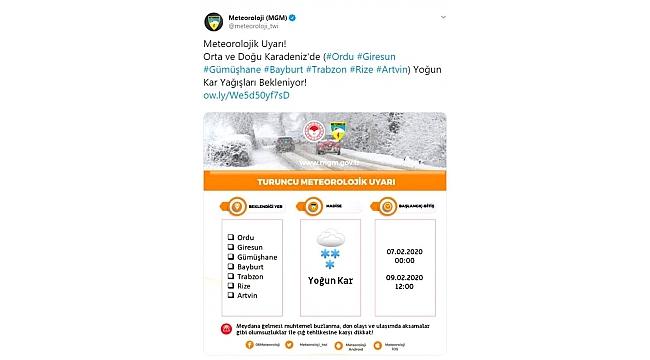Meteoroloji Trabzon için turuncu alarm verdi