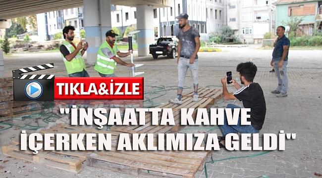 Trabzon'da inşaat işçilerinin 'defilesi' sosyal medyayı salladı! İşte o anlar...