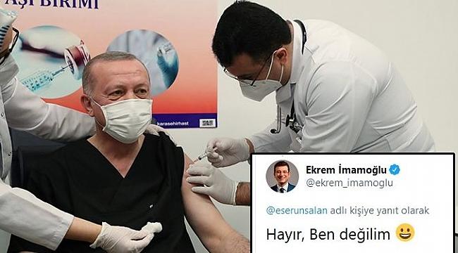 Erdoğan'a aşıyı yapan kişi İmamoğlu'na benzetilince... İmamoğlu cevap verdi