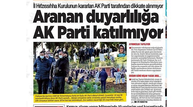 Günebakış Gazetesi bile manşetten gördü:  AK Parti koronavirüs kararlarını dikkate almıyor
