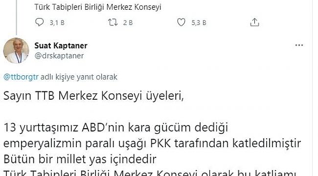Türk Tabipler Odası'nın paylaşımına tepki yağdı