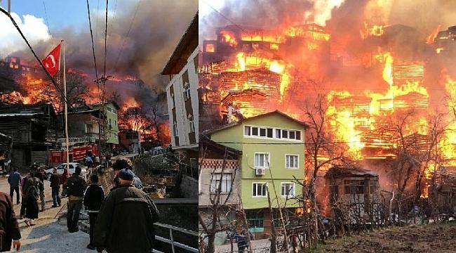 Artvin'de korku dolu anlar: Onlarca ev yandı