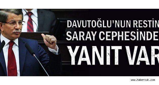 Davutoğlu'nun restine Saray cephesinden yanıt